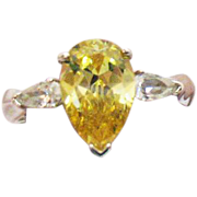 Rare AVON of Belleville Ring Simulated Canary Yellow Diamond Sterling Silver~ Marcel Boucher .
