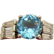 Rare AVON of Belleville Topaz Ring with Simulated Diamond Ring Guards Sterling Silver~Designer