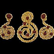 Vintage Faux Carnelian Rope Design Signed Avon Brooch Earrings Set~Unworn