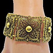 Hard to Find Vintage Wide Signed Celebrity Golden Lacey Bracelet