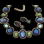 Rare Vintage AVON of Belleville Molded Confetti Glass Necklace Earrings Set~Marcel Boucher