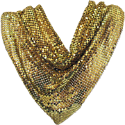 Wonderful Drippy Drappy Gold Metallic Mesh Bib Necklace Signed Whiting & Davis
