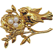 Vintage Golden Robin with Faux Pearls in a Nest Lapel/Clutch Pin