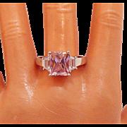 Rare Vintage Signed AVON of Belleville Ring Simulated Pink Diamond Baguettes~Marcel Boucher