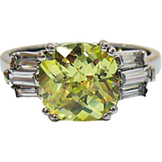 Rare Vintage Signed AVON of Belleville Ring Fancy Cut Simulated Canary Yellow Diamond 6 Baguet