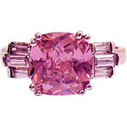 Rare Vintage Signed AVON of Belleville Ring Fancy Cut Simulated Pink Diamond 6 Baguettes~Marce