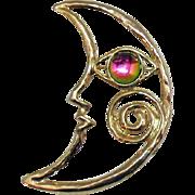 Vintage Rainbow Gripoix Glass Eye and Half Moon Face Brooch