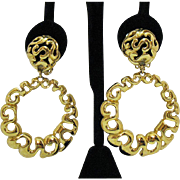 Bold Vintage Etruscan Style Dangle Hoop Clip Earrings