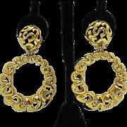 Bold Vintage Etruscan Style Dangle Hoop Clip Earrings