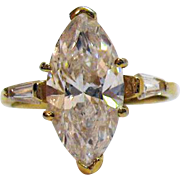 Magnificent High End Costume Jewelry Marquise Baguette Simulated Diamond Ring