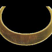 Wide Vintage Contoured Omega Golden Signed RuAn Necklace