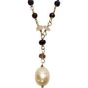 Delicate Vintage Sterling Silver Gemstone Pearl Lavaliere Necklace
