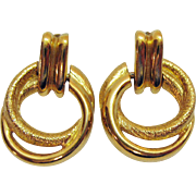 Vintage Signed Napier Golden Eternity Hoop Door Knocker Pierced Earrings