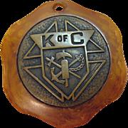 Rare Vintage Knights of Columbus Saint Christopher Butterscotch Bakelite Pendant