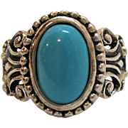 Rare Vintage Avon of Belleville Sterling Silver Turquoise Glass Ring~Marcel Boucher