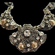 Fabulous Vintage Western Germany Necklace Rhinestone Mobe Pearl Filigree