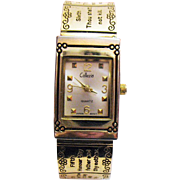 SOLD Unusual Vintage 10 Commandments Hinged Bangle Bracelet Wrist Watch by Collezivo