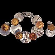 Unusual Vintage Faux Elizabeth II Coin Bracelet Earrings Set~MINT!