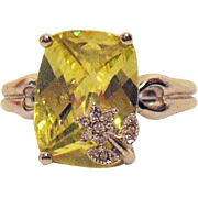 Rare Bold Fancy Simulated Canary Yellow Diamond Signed AVON of Belleville Ring with Overlay ..