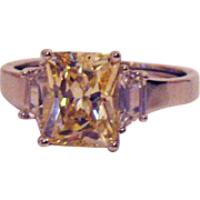 Rare Vintage Signed AVON of Belleville Ring Simulated Canary Yellow Diamond Baguettes~Marcel .