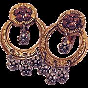 Wonderful Vintage Flower Dangle Two-Tone Clip Earrings