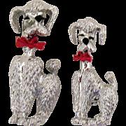 Darling Vintage Silver French Poodle Scatter Pins/Brooch
