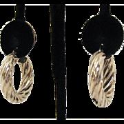 Vintage Sterling Silver Twisted Hoop Pierced Earrings Signed CI T Star 925~Bold