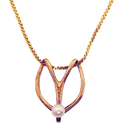 Beautiful Stylized 14K Gold Pearl Pendant Necklace Made in Italy