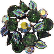 Stunning Vintage Signed Regency Green Rhinestone Art Glass Leave Brooch