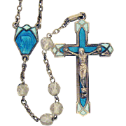 SOLD Gorgeous Vintage French Sterling Silver Rock Crystal Guilloche Enameled Rosary