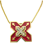 Unusual Vintage Lavaliere Style Enameled X and Arrows Pendant Necklace
