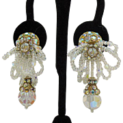 Stunning Vintage Signed Louis Ann Hand Made Runway Ready Clip Earrings