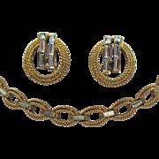 Signed Crown Trifari Golden Baguette Necklace Earrings Set