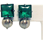Vintage Art Deco Emerald Cut Green Glass Sterling Silver Screw Back Earrings