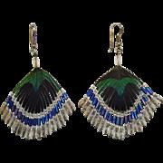 Beautiful Vintage Peacock Feather Beaded Pierced Earrings
