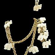 Rare Vintage Signed Napier White Celluloid Elephant Charm Necklace Bracelet Pierced Earrings S