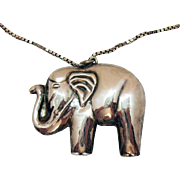 Gorgeous Vintage Sterling Silver Holloware African Elephant Pendant Necklace