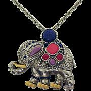 Rare Signed Hattie Carnegie Vintage Jeweled Elephant Pendant Brooch Necklace