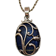 Gorgeous Vintage Signed Sterling Silver Lapis Lazuli Pendant Necklace