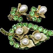 Fabulous Unsigned Alice Caviness Vintage Pearl Peridot Rhinestone Blossom Brooch Clip Earrings
