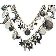 Vintage Silver Moon Stars Charm Necklace Collette Set Faceted Glass Stone Rhinestones