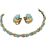 Fabulous Signed Crown Trifari Vintage Molded Turquoise Glass Flower Pearl Necklace Earrings Se