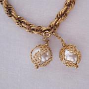 SALE 50% Off~Gorgeous Signed Celebrity Vintage Caged Pearl Charm Bracelet