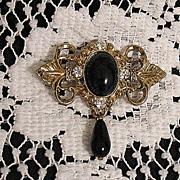 SALE 50% Off~Beautiful Victorian Revival Brooch Black Glass Tear Drop Floral Rhinestones