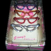 HTF 1950's Vintage Boxed Set of 4 Vogue Ginny Glasses