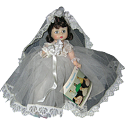 """SOLD Vintage Madame Alexander 1960's 8"""" bent-knee Bride Doll in Original Tagged Outfit."""