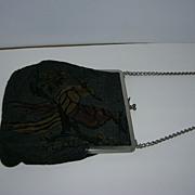 Vintage Needlepoint Cloth Purse with Bird Design
