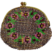 Vintage Steel Beaded and Beaded Flowers Coin Purse