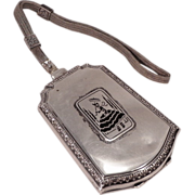 Vintage Sterling Silver Vanity Compact With Woman With Parasol On Front
