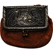 SOLD Vintage Brown Leather Advertising Coin Purse